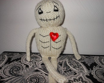 Halloween Skeleton Hand Knitted Doll, Skeleton with a Big Heart, Home Decor, Fall, Autumn, Halloween Decoration