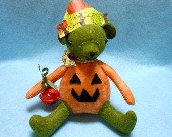 Pumpkin Teddy Bear Handmade with Paper Hat and Pumpkin Bell, Fall, Autumn, Halloween, Home Decor, Halloween Bear, Stuffed Bear, Pumpkin Bear