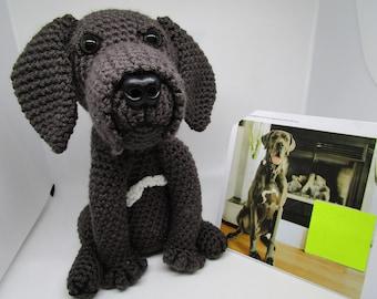 Custom Crochet Great Dane, Dark Gray Great Dane, Custom Dane, Crochet Great Dane, Dog Memorial, Pet Remembrance, Great Dane, Look Alike, Dog