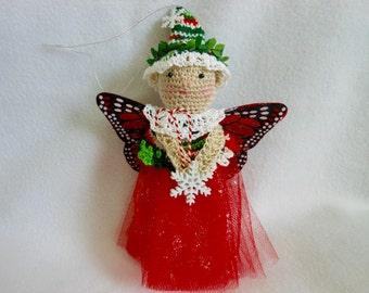 Fairy Christmas Ornament, Crochet Holiday Ornament, Fairy Doll, Winter, Xmas, Tree Ornament, Magical, Fantasy, Home Decor, Ornie