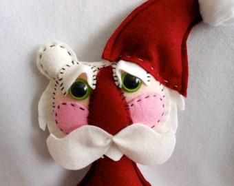 Santa Claus Teddy Bear Doll Hand Sewn in Burgundy Felt, Christmas, Holidays, Home Decor, Christmas Doll, Christmas Decoration