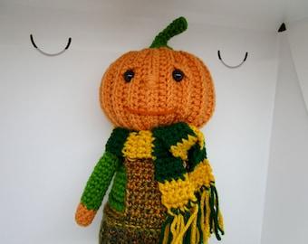 Crochet Pumpkin Head Doll, Fall Decor, Autumn Decor, Halloween Decor, Pumpkin Doll, Crochet Pumpkin Doll, OOAK, Stuffed Pumpkin Doll
