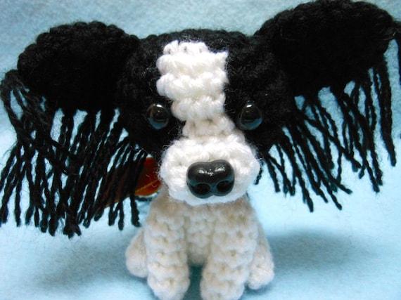 Little Papillon Crochet Dog Amigurumi In Black And White Etsy
