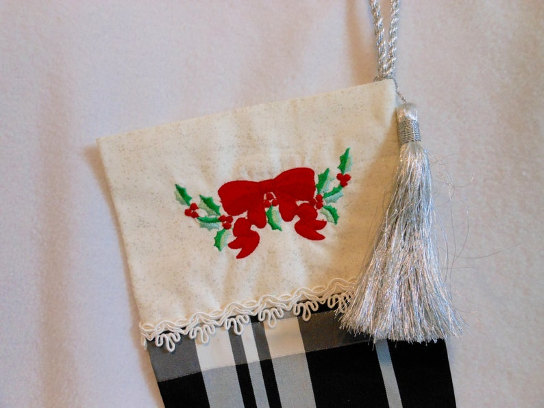 Machine Embroidered Silver Tassel Black and White Plaid Christmas Decoration Holidays Home Decor Winter Christmas Stocking
