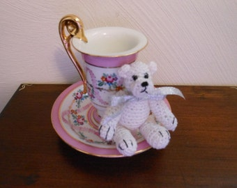 Tiny Teddy Bear  Crocheted in White Thread with Silver Bow