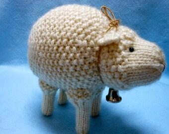 Hand Knitted Sheep in Cream Color Bulky Yarn, Stuffed Animal, Woolly, Lamb, Farm Animal, Home Decor, Stuffed Sheep, Farmhouse Decor