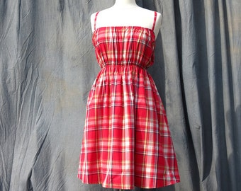 Casual Summer Dress, Red Dress For Women, Red Cotton Sundress, Madras check dress, Festival Party Dress Summer Sale