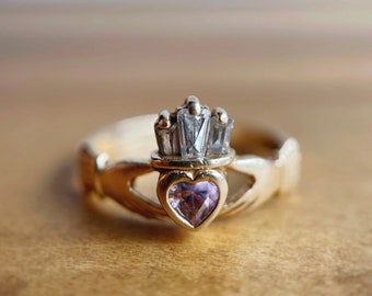 10k TRD Celtic Claddagh ring with solitaire diamond
