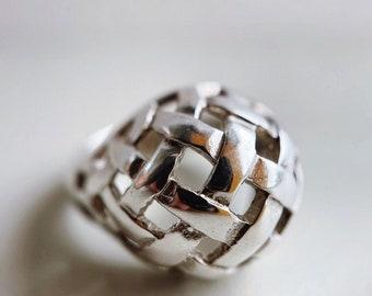 Sterling Silver Basket Weave Bombé Dome Ring