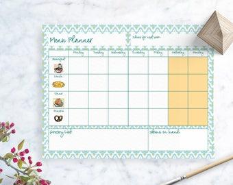Weekly Menu Planner - Printable, INSTANT DOWNLOAD - Blue Geometric Food Planner