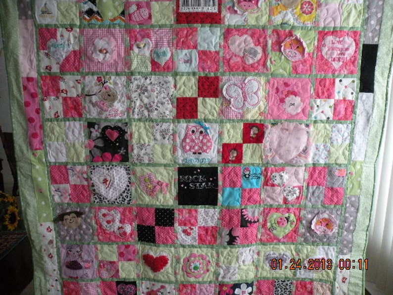 Custom baby clothes memory quilt hand made applique etsy
