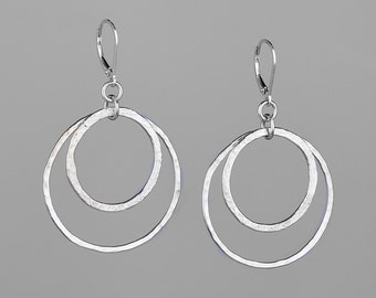 Double round  textured fused silver hoops