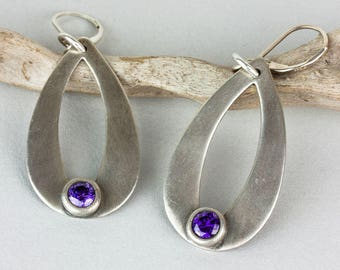 Tear Drop Brushed Silver With Purple Amethyst CZ