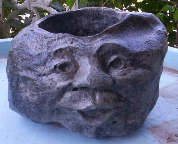 Concrete Garden Rock Face Head Planter Or Pot Etsy
