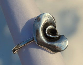 Flower Ring Sterling Peaflower heavy silver Calla Lily 3D sculpted flower gardeners delight