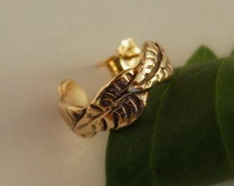 fb2002620 Gold Hoop Leaves 14K Three sizes Helix Mini Earring, Ear Cuff or Cartilage  area Piercings