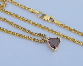 14K Chain Garnet Trillion Pendant Wheat Chain Yellow gold