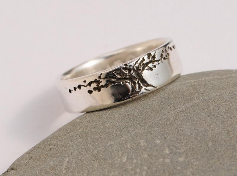 Tree of Life band Set 6.5mm sterling wedding band tree design darkened tree gift man/'s women/'s Wedding set