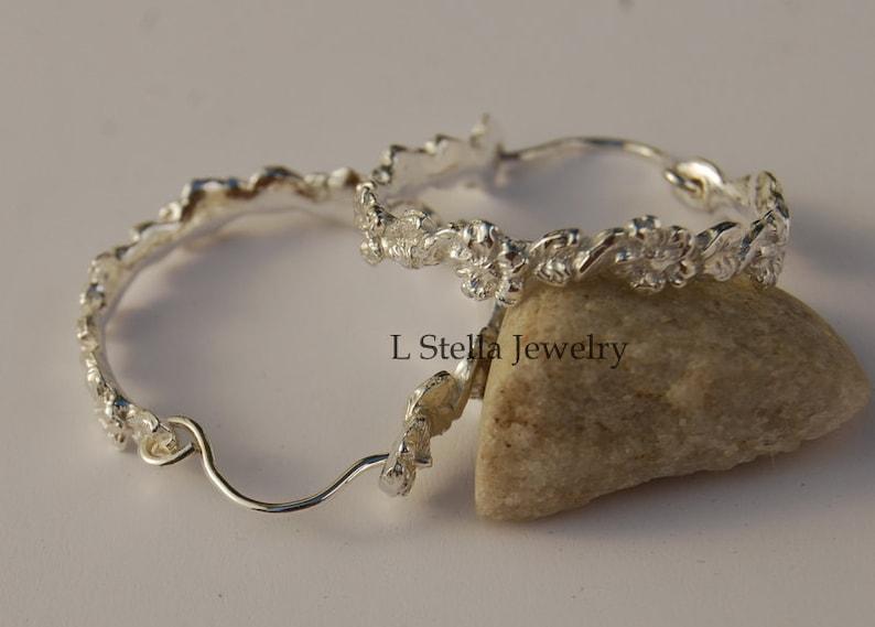 Hoop Earrings Petite Floral Leaf 1 Sterling Silver Delicate Garden Organic Flowers Leaves Womans gift