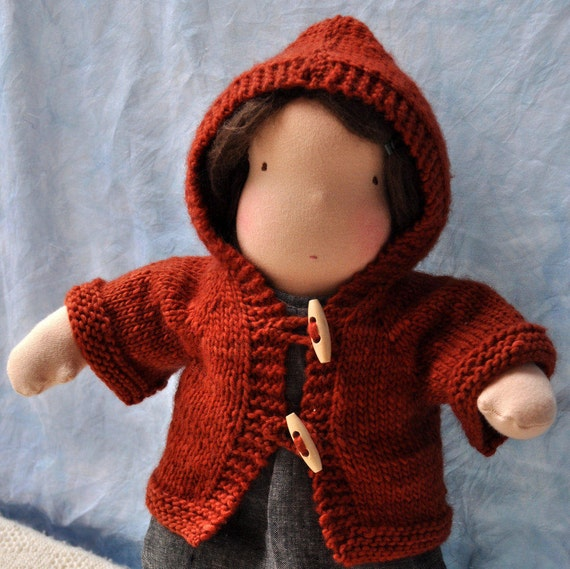 Knitting Pattern For Doll Cardigan With Hood Hazels Etsy
