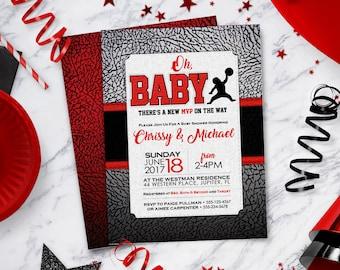 b1800a55560 Air Jordan Baby Shower Invitations   Baby Jumpman   Jordan Themed Party  Invite   Customized Printable Design   BAB38