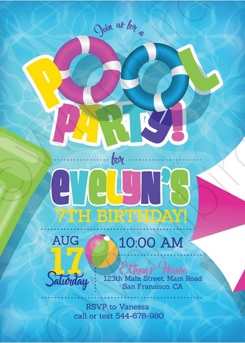 Pool Party Invitations For Girls Girl Birthday