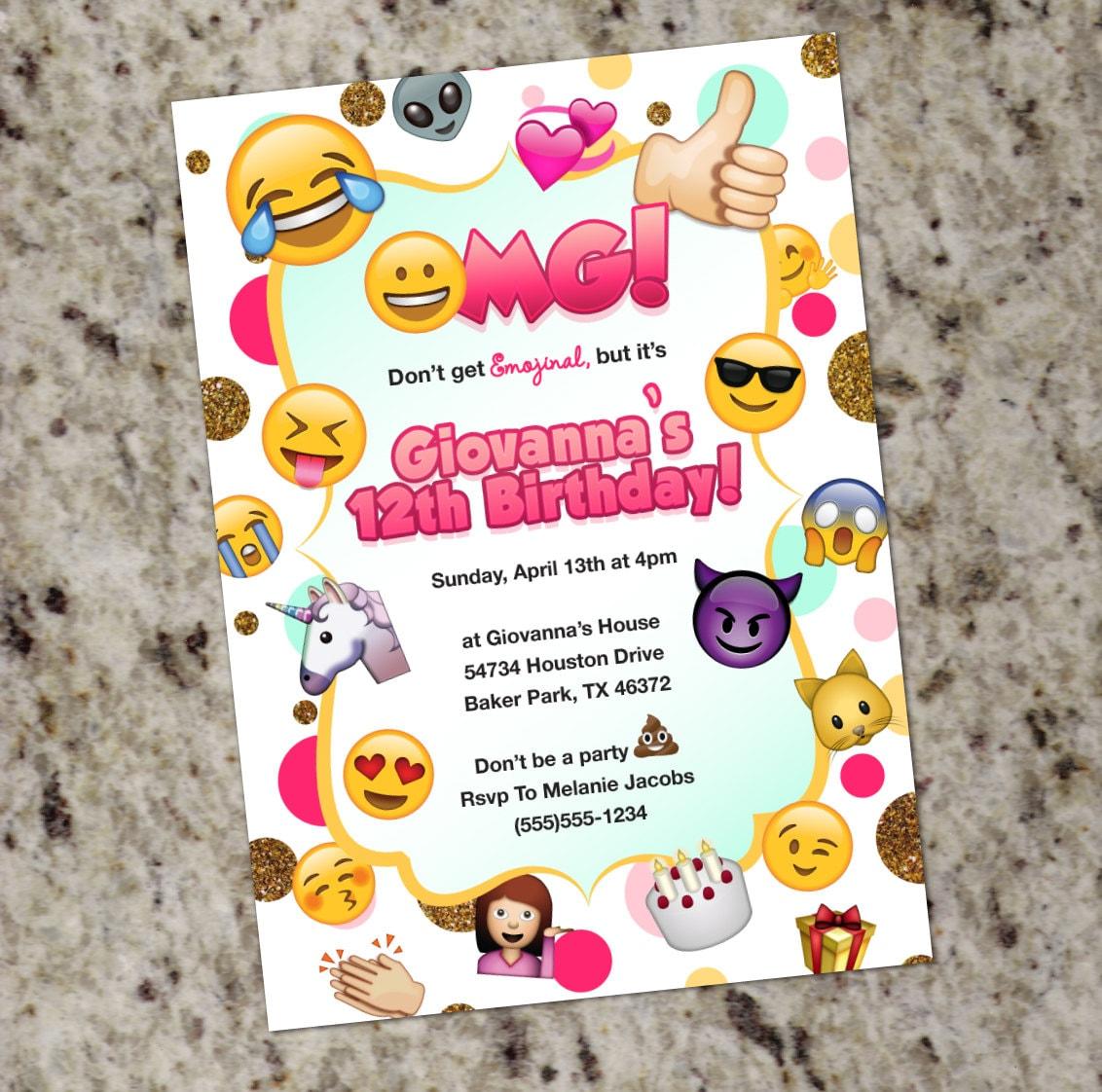 Emoji Birthday Invitation Themed Party Invitations