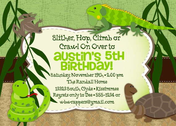 Reptile Birthday Party Invitation Themed