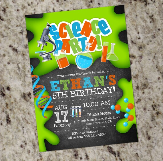 Science Birthday Party Invitations Mad Scientist Science Lab