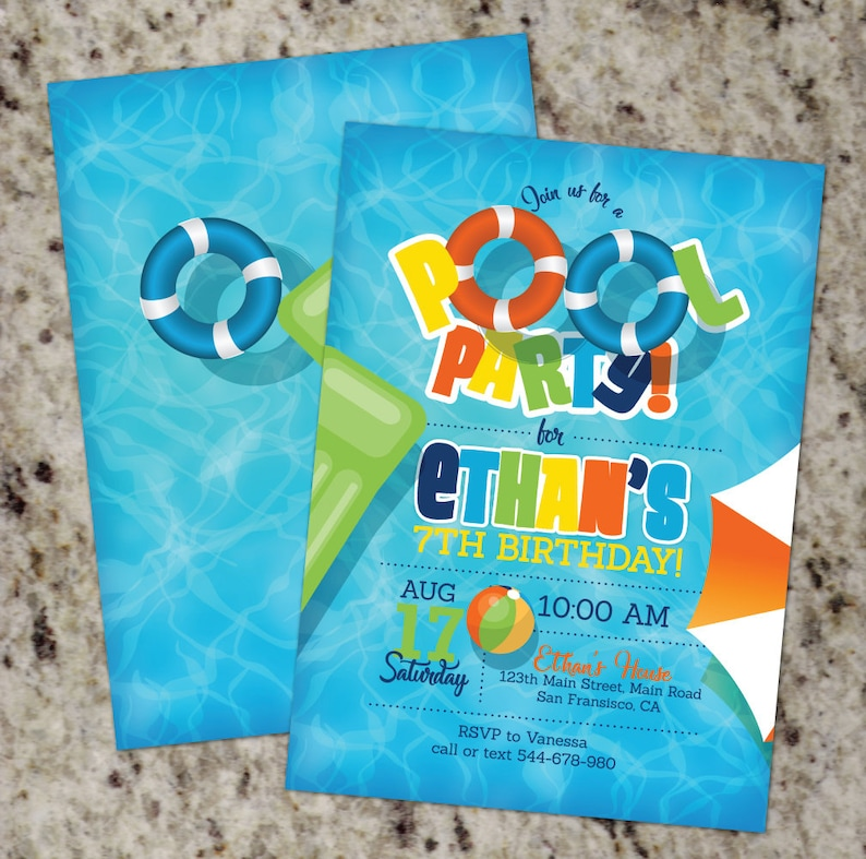 Pool Party Invitations Birthday Invites Summer