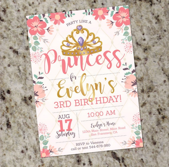 Princess Birthday Party Invitation Princess 1st Birthday Invite