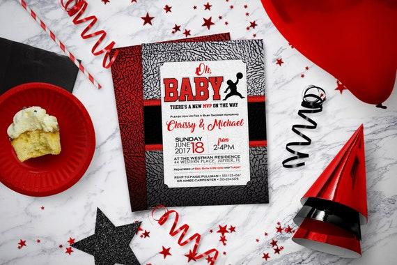 Air Jordan Baby Shower Invitations Baby Jumpman Jordan Etsy