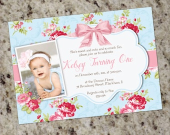 Girl 1st Birthday Invitation | Shabby Chic 1st Birthday Invitation | Pink Floral Girl First Birthday Invite | Floral | Personalized