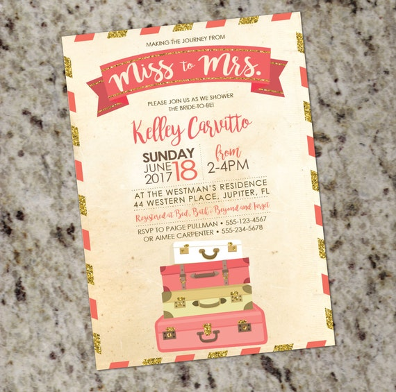 033c784c13b Coral and Gold Glitter Travel-Themed Bridal Shower Invitation with Vintage  Postcard Look - DIY Print Your Own