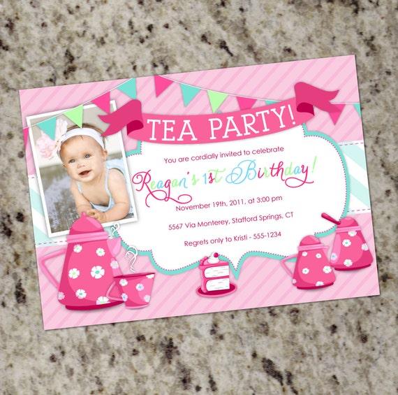 Tea Party Birthday Invitation 1st Birthday Invitation Girl