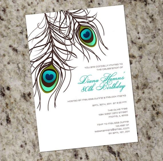 PEACOCK Invitation PRINTABLE DESIGN Wedding Birthday Or