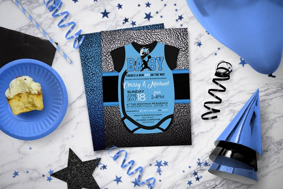 hot sales 7bf5d 70951 Air Jordan Baby Shower Invitations   Blue Jordan Onesie   Jumpman   Jordan  Themed Party Invite   Baby Blue   BAB38