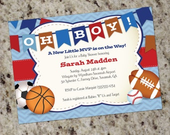 Oh Boy! All-Star Sports | Baby Shower Invitation | Boy Baby Shower | MVP | Sports Themed | Baby Shower Invitations | Print Your Own | BAB14