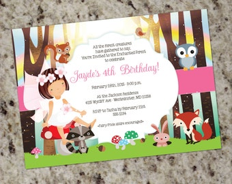 Enchanted Forest Birthday Party Invitation | Woodland Fairy Party | Girl Birthday Party Invitation | Woodsy | Forest Party Invite | Rainbow