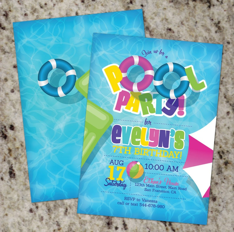Pool Party Invitations For Girls Girl Pool Birthday Party