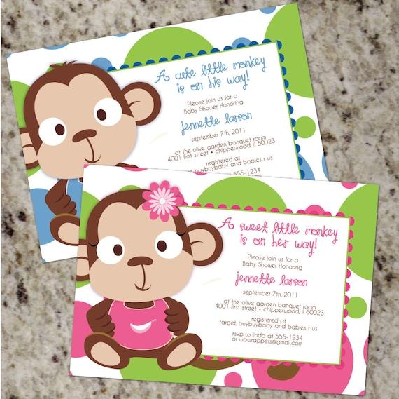Monkey baby shower invitations boy baby shower invitations etsy image 0 filmwisefo
