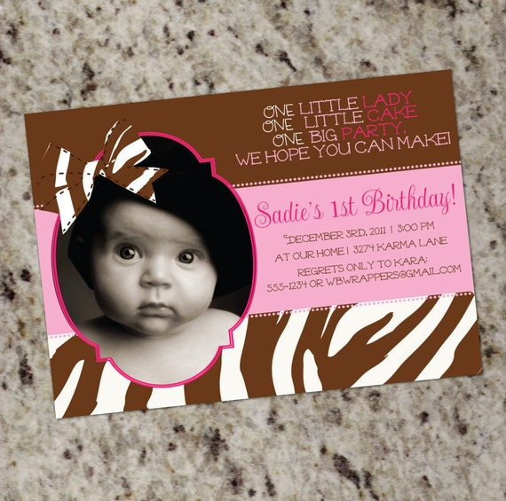 Pink Zebra Print Girls 1st Birthday Invitation: Zebra 1st Birthday Invitation