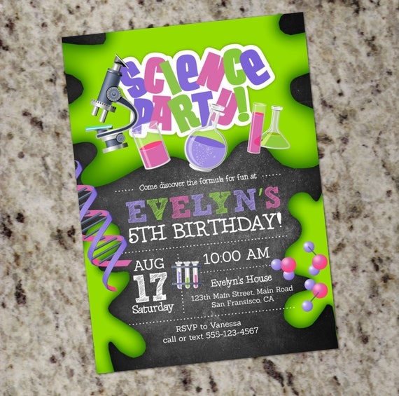 Girl Science Birthday Party Invitations Mad Scientist Science