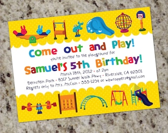 PLAYGROUND Themed - Birthday Party Invitations - Printable Design