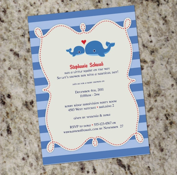 Sweet whale themed baby shower or birthday invitation etsy image 0 filmwisefo