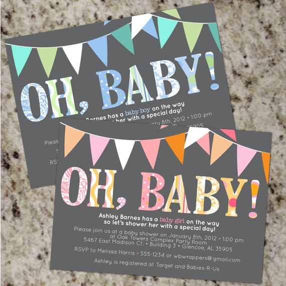 Oh Baby Mod Baby Shower Invitations Boy Or Girl Or Your Etsy