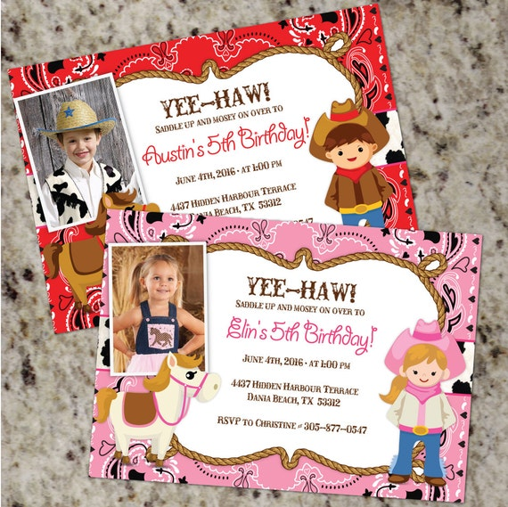 Cowboy Or Cowgirl Birthday Party Invitations