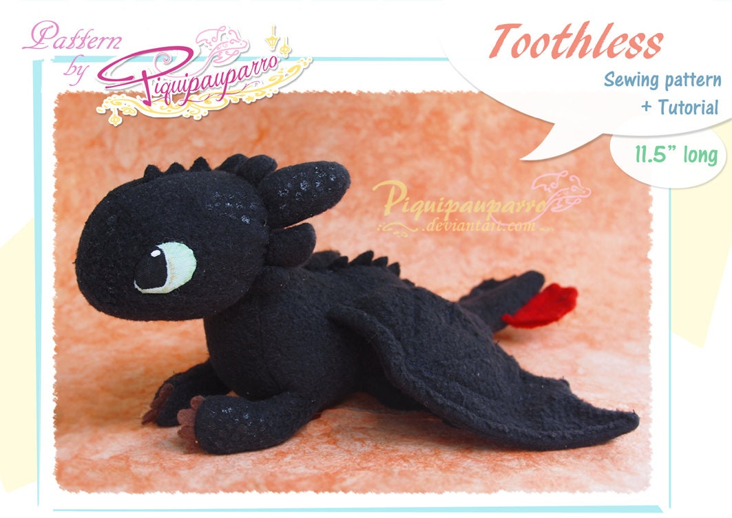 Pdf Sewing Pattern Instructions Beanie Toothless Diy Etsy