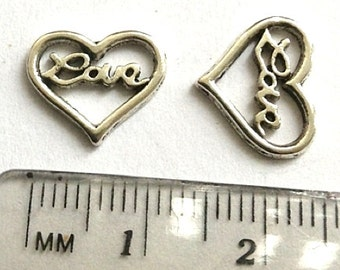 6 Love Heart charms silver tone