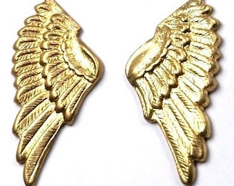 4 pcs (2 PAIRS)  Raw Brass Wings Textured charms Stampings - NO HOLES
